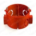 GE40010-06 Коробка установочная d 65*40мм для кирпичных стен, с саморезами, цвет красный (300шт)