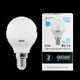 Лампа Elementary светодиодная шар 6W 4100K E14 Gauss(60лн)