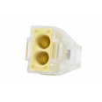 Зажим разветвительный втычной двухгнездовой желтый макс.сечение 2,5 кв.мм 24 А (1 пакет/50 шт.)