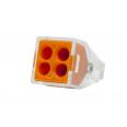 Зажим разветвительный втычной четырехгнездовой оранжевый макс.сечение 2,5 кв.мм 24 А (1 пакет/50 шт.)