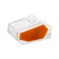 Зажим разветвительный втычной трехгнездовой прозрачный с оранжевой вставкой макс.сечение 2,5 кв.мм 24 А (1 пакет/50 шт.)