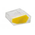 Зажим разветвительный втычной четырехгнездовой прозрачный с желтой вставкой макс.сечение 2,5 кв.мм 24 А (1 пакет/50 шт.)