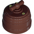 Выключатель пластиковый поворотный на два положения, для включения из 2-х мест (1-клавишный проходной), цвет - какао, УСАДЬБА
