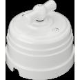 Выключатель пластиковый поворотный на два положения, для включения из 2-х мест (1-клавишный проходной), цвет - белый, УСАДЬБА