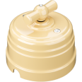 Выключатель пластиковый поворотный на два положения, для включения из 2-х мест (1-клавишный проходной), цвет - слоновая кость, УСАДЬБА