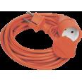 Шнур УШ-01РВ оранж. с вилкой и розеткой 2Р+РЕ/5 метров 3х1,0 мм2 IP44 IEK