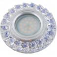 DLS-L120 GU5.3 CHROME/CLEAR+PURPLE Светильник декоративный встраиваемый, серия Luciole. Без лампы, GU5.3. Доп. светодиодная подсветка 3Вт. Металл/кристаллы. Хром/прозрачный+фиолетовый. ТМ Fametto