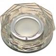 DLS-L122 GU5.3 BRONZE/CLEAR Светильник декоративный встраиваемый, серия Luciole. Без лампы, цоколь GU5.3. Доп. светодиодная подсветка 3Вт. Стекло/стекло. Бронза/прозрачный. ТМ Fametto