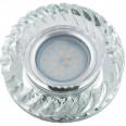 DLS-L123 GU5.3 GLASSY/CLEAR Светильник декоративный встраиваемый, серия Luciole. Без лампы, цоколь GU5.3. Доп. светодиодная подсветка 3Вт. Стекло/стекло. Зеркальный/прозрачный. ТМ Fametto