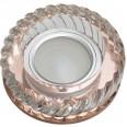 DLS-L123 GU5.3 BRONZE/CLEAR Светильник декоративный встраиваемый, серия Luciole. Без лампы, цоколь GU5.3. Доп. светодиодная подсветка 3Вт. Стекло/стекло. Бронза/прозрачный. ТМ Fametto