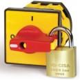 Желтая площадка 48х48 - красная ручка B64 д22мм с замком и блокирато