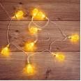 Гирлянда светодиодная `Восточные фонарики` 10 LED ЖЕЛТЫЕ 1,5 метра, прозрачный ПВХ, питание 2*АА