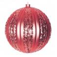 Елочная фигура `Полосатый шар`, 20 см, цвет красный